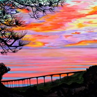 Torrey Pines High Bridge Sunset. Oil on canvas, 30 x 30 inches.