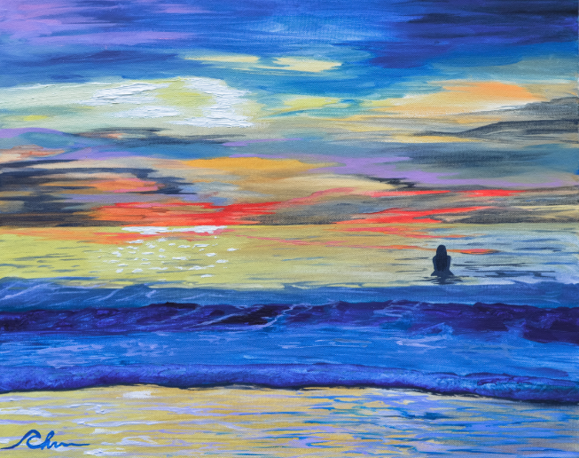 Lone Shores Surfer. Oil on Canvas, 20 x 16 inches